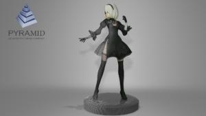 3D модель, фигурка девушки на подставке.