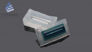 Лоток выдачи билета из прозрачного полиуретана зеленого цвета в силиконовой форме